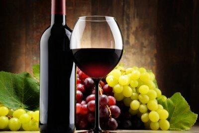 Quadro Composizione con vetro, bottiglia di vino rosso e le uve fresche