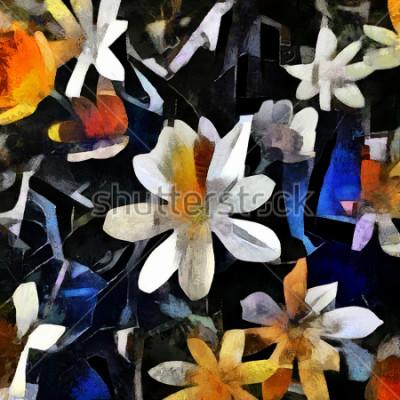 Quadro Composizione floreale nello stile del cubismo astratto. L'immagine è fatta di olio su tela con elementi di pittura acrilica.