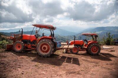 Quadro Contadino con le colture trattore semina
