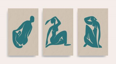 Quadro Contemporary Henri Matisse abstract vector poster. Woman nude figure sitting silhouette line art Matisse painting. Pastel reproduction of painting. Geometric shape collage.