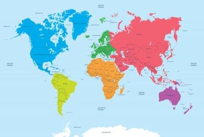 Quadro Continenti del mondo politico e mappa