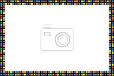 07018a8b2535 Cornice con bordo a quadretti colorati dipinti da parete • quadri ...