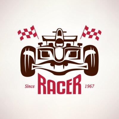 Quadro corsa formula auto emblema, simbolo bolide di gara