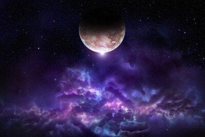 Quadro Cosmos scena con il pianeta, nebulosa e stelle nello spazio