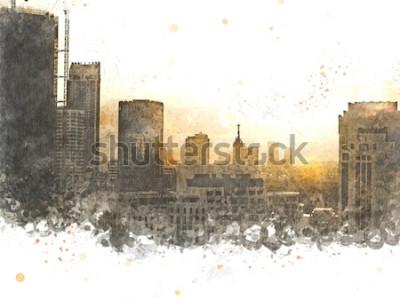 Quadro Costruzione astratta nella città sul fondo della pittura dell'acquerello. Città sulla spazzola dell'illustrazione di Digital ad arte.