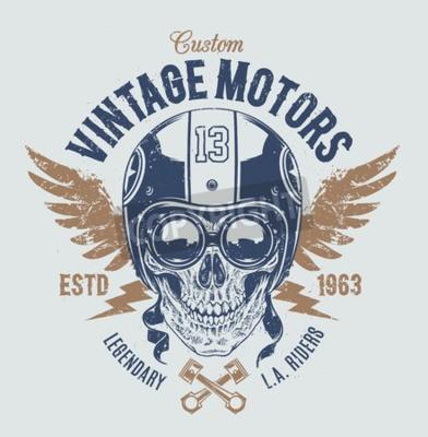 Quadro cranio Rider con gli attributi racer retrò. stampa Grunge. Stile vintage. Vector art.