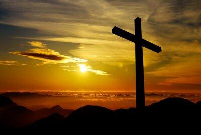 Quadro Croce cristiana su sfondo tramonto