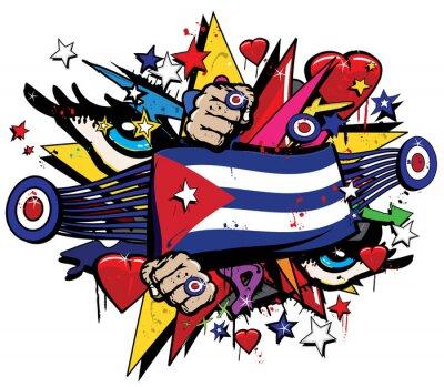 Quadro Cuba bandiera Havana graffiti bandiera Graff emblema arte di strada presa bandierine vessillo colorato Rivoluzione cubana spruzzo Graff vettore