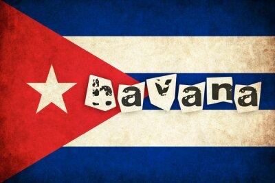 Quadro Cuba grunge bandiera illustrazione del paese con testo