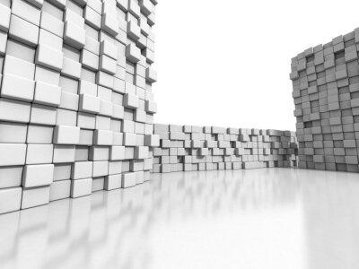 Quadro cubi bianchi muro sfondo 3d