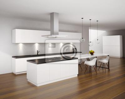 Quadro: Cucina moderna minimal bianco