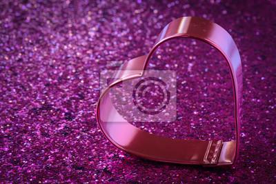 Cuore Rosa Con Glitter Sfondo Per San Valentino Dipinti Da Parete