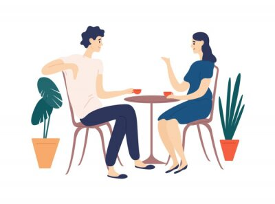 Quadro Cute couple sitting at table, drinking tea or coffee and talking. Young funny man and woman at cafe on date. Dialog or conversation between romantic partners. Flat cartoon vector illustration.