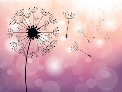 Quadro Dandelion sul vento, sfondo vettoriale