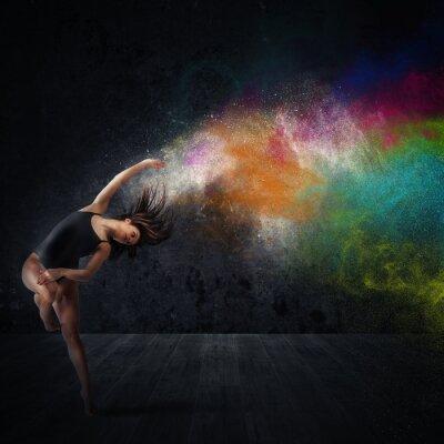 Quadro Danza con pigmenti colorati