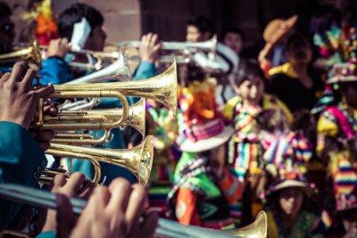 Quadro Danzatori peruviani alla parata a Cusco.