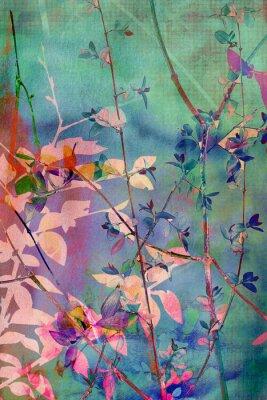 Quadro Decorative grunge con foglie naturali