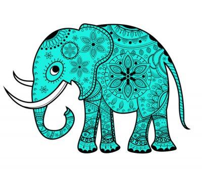 Quadro Decorato vettore elefante, elefante Vettoriale decorato