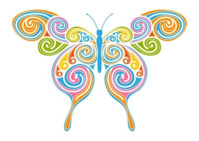 Quadro Dekoratives Vektor Element - bunter, abstrakter Schmetterling mit Spirale Muster. Progettazione Vorlage für Grußkarten und Hintergründe. Frühling, frische Farben.