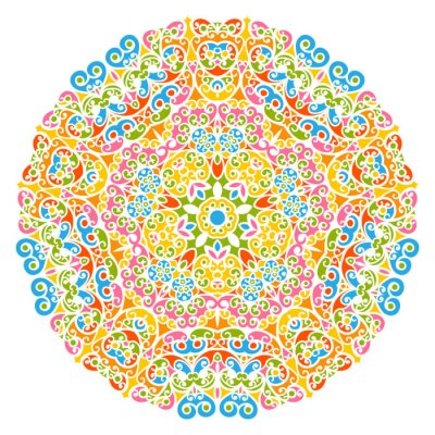 Quadro Dekoratives Vektor Element - buntes, florales und abstraktes Mandala Muster, isolato auf weißem sfondo. Colorful Abstract Decorative Pattern - Motif ornato con elementi di design - Sfondi.