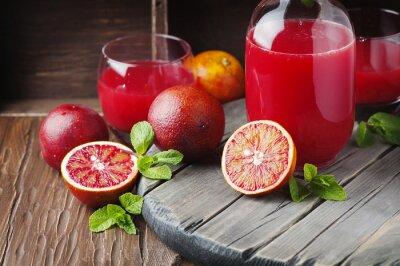 Quadro delizioso succo di arance rosse e menta