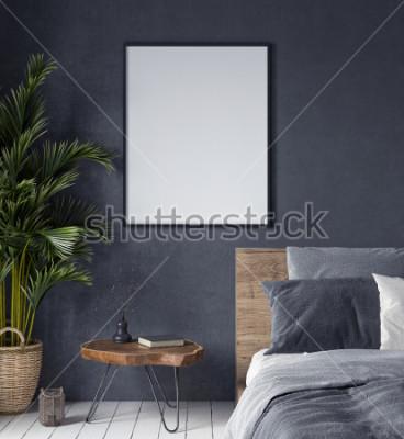 Quadro Derida sul manifesto nell'interiore della camera da letto, lo stile etnico, 3d rende