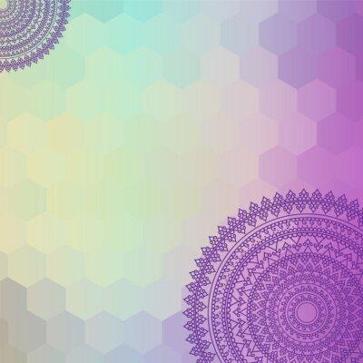 Quadro Design Henna Mandala etnico e colorato, molto elaborato e facilmente editabili