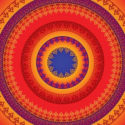 Quadro Design Henna Mandala etnico e colorato, molto elaborato e facilmente modificabile