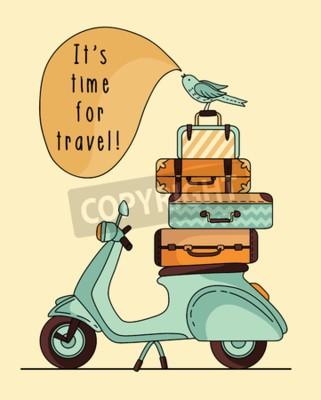 Quadro Design vintage poster di scooter. Scooter con bagaglio