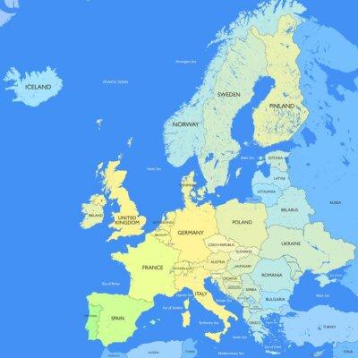 Quadro Dettagliata mappa Europa
