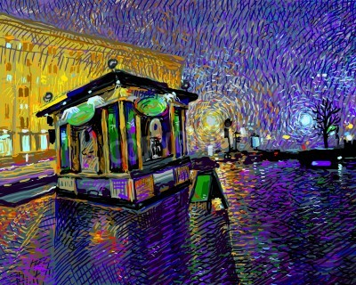 Quadro digital art  painting of night Kyiv city, vector illustration
