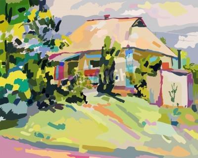 Quadro dipinti ad olio di villaggio estivo