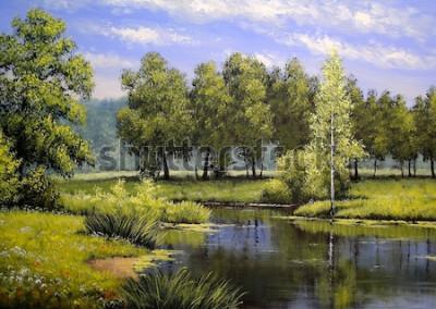 Quadro Dipinti ad olio paesaggio, fiume e alberi, stagno, arte