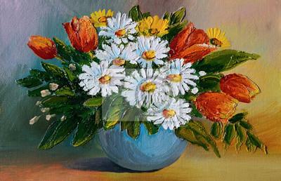 Dipinto ad olio - colorato mazzo di fiori gialli e blu dipinti da ...