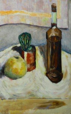 Quadro Dipinto ad olio natura morta con bottiglia cactus mela di alcol in stile impressionista su tela di canapa
