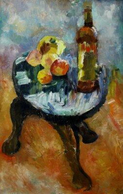 Quadro Dipinto ad olio natura morta con su una sedia di mele e pesche in stile dell'impressionismo in colori vivaci su tela di canapa