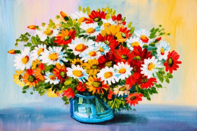 Dipinto ad olio - natura morta, un mazzo di fiori dipinti da parete ...