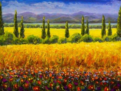 Quadro Dipinto ad olio paesaggio toscano estate italiana, cespugli di cipressi verdi, campo giallo, fiori rossi, montagne e immagine di opere d'arte di cielo blu su tela