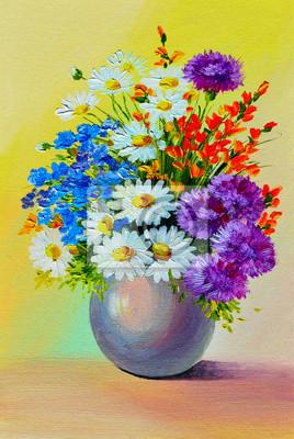 Dipinto ad olio - still life, un mazzo di fiori dipinti da parete ...