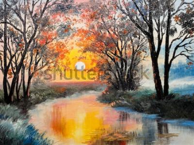 Quadro dipinto ad olio su tela - il fiume