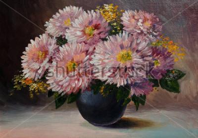 Quadro Dipinto ad olio su tela - natura morta fiori sul tavolo