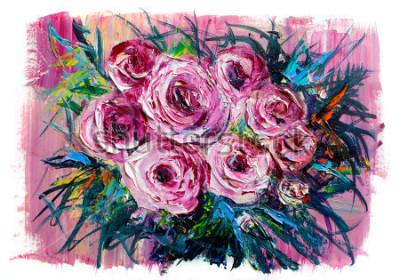 Quadro Dipinto ad olio un mazzo di rose. Stile impressionista