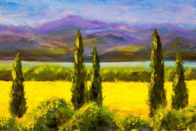 Quadro Dipinto italiano toscana cipressi paesaggio campo cespugli montagne orizzontalmente arte