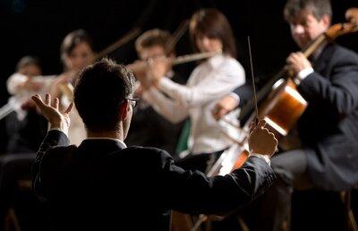 Quadro Direttore d'orchestra dirigere un'orchestra sinfonica