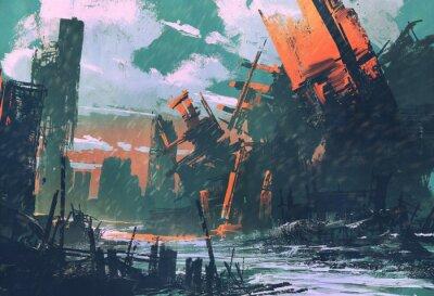 Quadro disastro della città, uno scenario apocalittico, illustrazione pittura