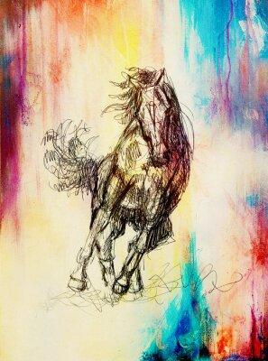 Quadro Disegnare cavallo matita su vecchia carta, carta d'epoca e vecchia struttura con macchie di colore.