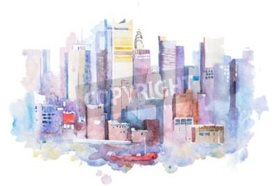 Quadro disegno ad acquerello di New York paesaggio urbano, Stati Uniti d'America. Manhattan Aquarelle pittura.