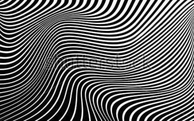 Quadro disegno astratto dell'onda del fondo di arte ottica in bianco e nero