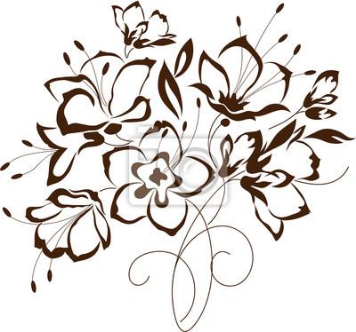 Disegno floreale, bouquet di fiori stilizzati dipinti da parete ...