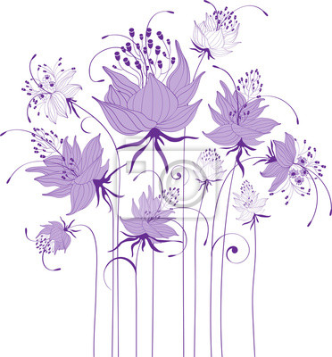 Disegno Floreale Fiori Stilizzati Dipinti Da Parete Quadri